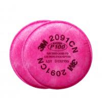3M™ 2091 P100 濾棉(防粉塵,霧滴,燻煙,氡氣,微粒)(紅)