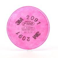 3M™ 2091 P100 濾棉(防粉塵,霧滴,燻煙,氡氣,微粒)(紅) (2個/包)