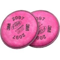 3M™ 2097 P100 濾棉(防粉塵,霧滴,燻煙,氡氣,微粒)(紅) (1對/包)