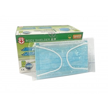 M43 盾牌 兒童5-12歲一次性耳掛式外科口罩145x90mm(±5mm) (50片/盒) (獨立包裝) (Level 2)藍色